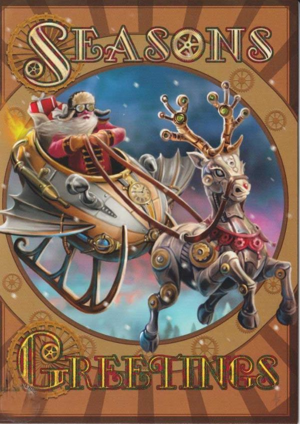 Anne Stokes Steampunk Santa Yule Greeting Card